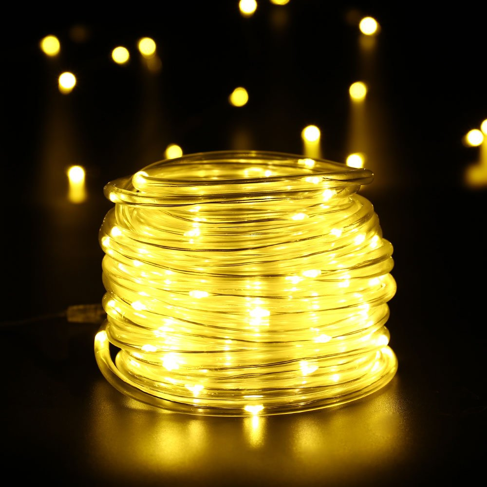 Icicle Solar Rope String lights,100 pcs LEDs 33FT for Christmas Tree, Wedding, Party,Yard, Garden, Lawn, Patio, Indoor and Outdoor Decoration (Warm White)