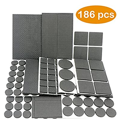 Lightweight Reduced Non Slip Furniture Rubber Pads by DigHealth, Large Pack of 186 PCs and Assorted Sizes, Heavy Duty Adhesive-Best Chair Leg Covers and Tiled, Laminate, Hardwood Flooring Protectors