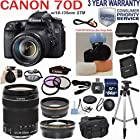 Canon EOS Rebel 70D 20.2 MP Digital Camera with EF-S 18-135mm f/3.5-5.6 IS STM Zoom Lens + Telephoto & Wide Angle Lenses + 3pc Filter Kit + Camera Deluxe Case + Professional Grip Strap + 50 Tripod + Extra Backup Battery + 3pc Flash Diffuser Set for Red Eye Reduction with 64GB SD Class 10 Card + 33rd Street Starter Kit + 3 Year Warranty & more