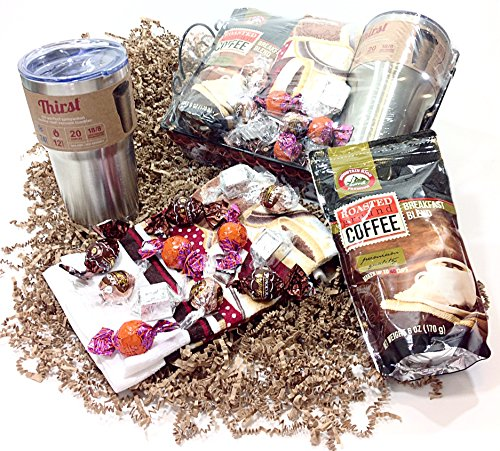 Coffee Lovers Holiday Gift Basket - Lindt Gourmet Chocolate Candy, Breakfast Blend, Travel Mug & Towel (B2) (Keurig Coffee Gift Basket compare prices)
