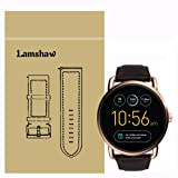 Lamshaw Leather Strap Replacement Band for Fossil Q Wander Smartwatch Strap (Coffee) (Color: Coffee)