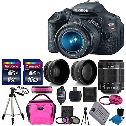 Canon Eos Rebel T3I 18 Mp Cmos Digital Slr Camera Usa Warranty With Canon Ef-S 18-55Mm F/3.5-5.6 Is [Image Stabilizer] Ii Zoom Lens+ 58Mm 2X Professional Lens +High Definition 58Mm Wide Angle Lens + Auto Power Flash + Spare Battery+ Uv Filter Kit With 24G