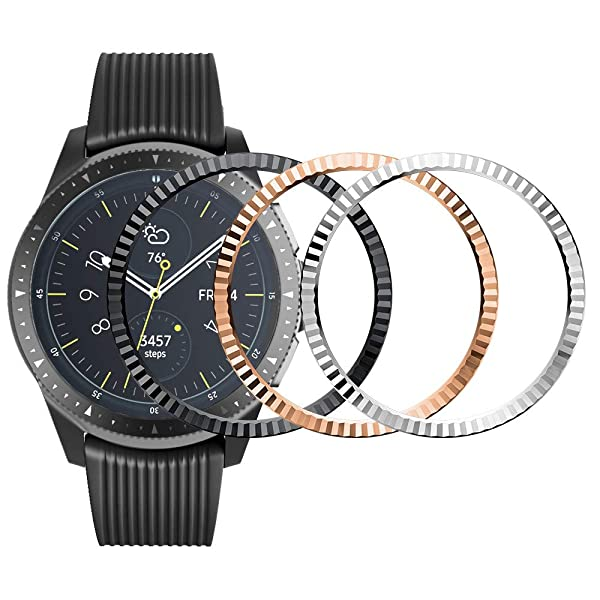ANCOOL Bezel Ring Compatible Samsung Galaxy Watch 42mm/Gear Sport Adhesive Cover Anti Scratch Stainless Steel Protection Design for Galaxy Watch Accessory-3 Pack (Color: Q-21, Tamaño: 42mm)
