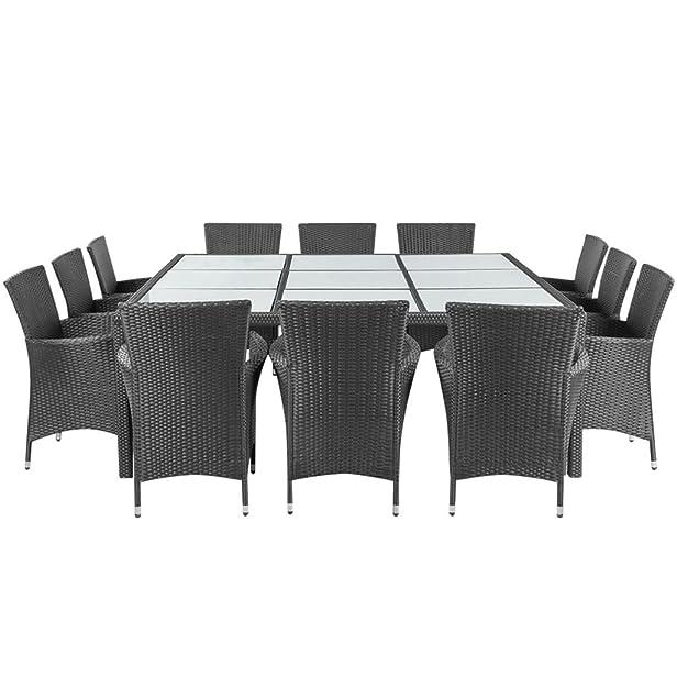 vidaXL Set da pranzo da esterno tavolo e sedie da giardino in polirattan nero