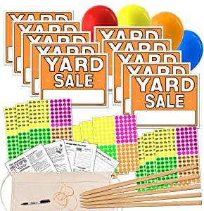 amazon com yard sale sign kit with pricing labels and wood sign stakes a802y patio lawn