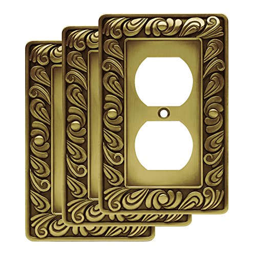 Franklin Brass W10110V-ABT-R Paisley Single Duplex Wall Plate, Tumbled Antique Brass, Pack of 3
