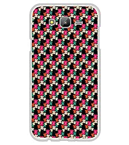 ifasho Animated Pattern design colorful flower in black background Back Case Cover for Samsung J7
