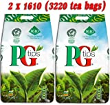 PG Tips Tea Bags - Pack of 2, Total 3220 Teabags