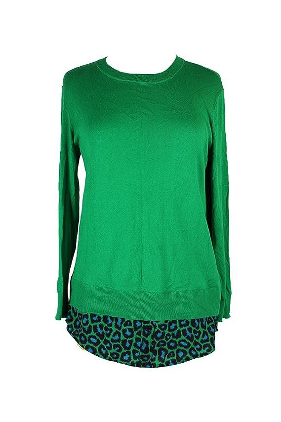 Michael Michael Kors New Spring Green Layered-Look Sweater S $99.5 DBFL