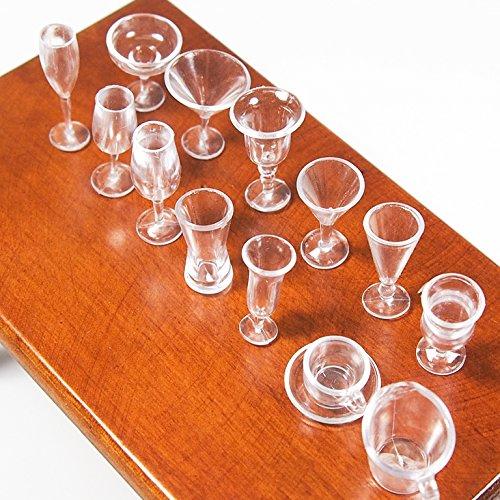 1:12 14Pcs Cup Set Plastic Transparent Kitchenware Dinner Miniature Dollhouse