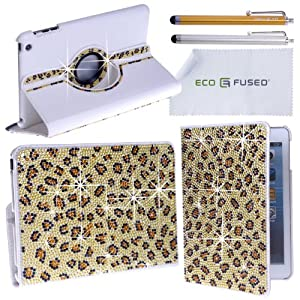 iPad Mini Case - Rotating Faux Leather Bling Case for Apple iPad Mini plus 2 Stylus Pens / 2 Screen Protectors / 1 ECO-FUSED Microfiber Cleaning Cloth (Leopard)