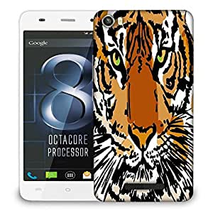 Snoogg sketch of white tiger vector illustration Designer Protective Back Case Cover For LAVA IRIS X8