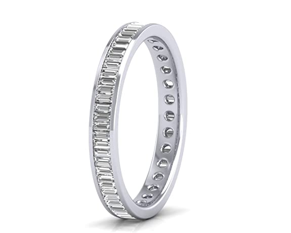 1.20 carat Baguette Cut Diamond Ring Full Eternity Wedding Ring in 9 K White Gold