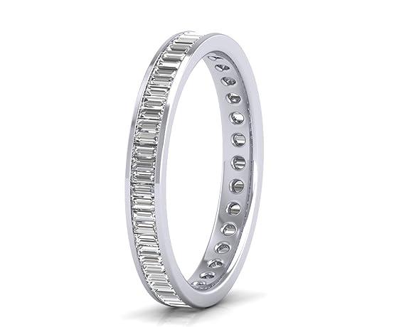1.20 carat Baguette Cut Diamond Ring Full Eternity Wedding Ring in 9 K White Gold