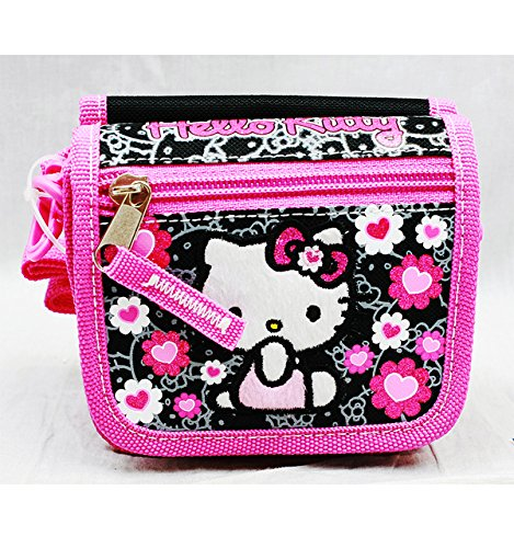 String Wallet - Hello Kitty - Black Flower Bow Girls Toys Kids New 84014 - 1