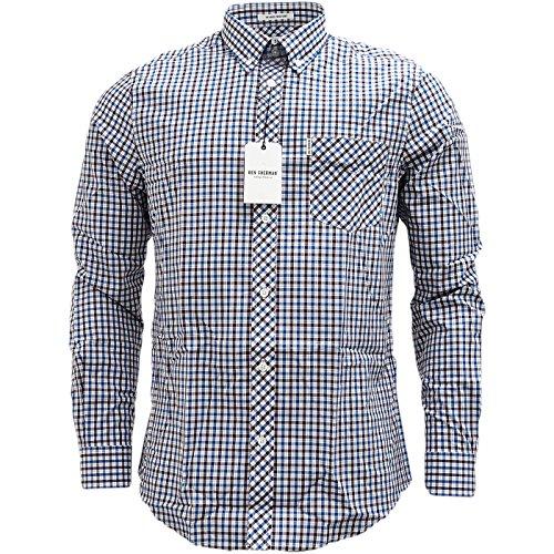 Ben Sherman da uomo Classic House Check a maniche lunghe Camicia casual Canal Blue XX-Large