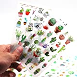 Sanmatic Sticker 48 Sheets(1200pcs) Green Cactus Plant Decorative Stickers Scrapbooking Stick Label Diary Stationery Album Bullet Journal Planners Stickers (Color: Green)