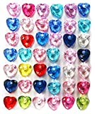 MaxGetz Charms Loom Band Charms for Rainbow Rubber Band Kits, Jewelry or Craft Projects 40 pc Diamond Heart Crystal Multi-Color