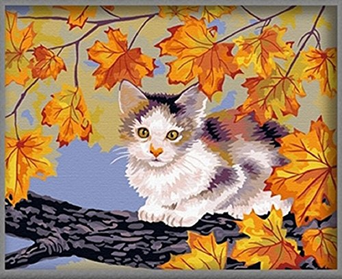 cat with yellow maple Paint by numbers 16x20 inch Frameless