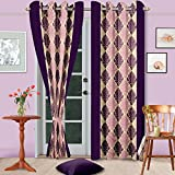 "Cenizas Fancy Polyster Door Curtain 1 Piece - 84""X48"", - Purple (CURT-N0003)"