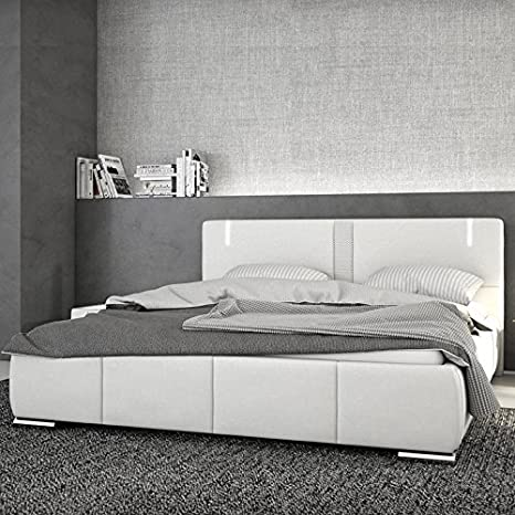 Innocent tapizada cama de piel sintética color blanco 180x 200cm con LED y Altavoz Ricci con colchón