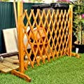 "Expanding Fence Garden Screen Trellis Style Expands to 6'4"" Freestanding Wood"