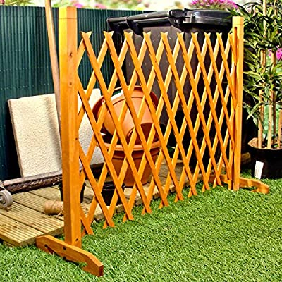 """Expanding Fence Garden Screen Trellis Style Expands to 6'4"""" Freestanding Wood"""