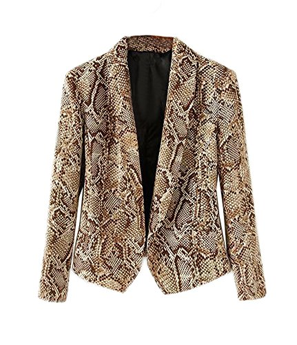 Alionz Women Autumn Lapel Collar Snake Print Slim Fitted Suit Outwear Blazer