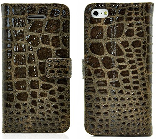 Mylife (Tm) Dark Brown {Crocodile Skin Design} Faux Leather (Card, Cash And Id Holder + Magnetic Closing) Slim Wallet For The Iphone 5C Smartphone By Apple (External Textured Synthetic Leather With Magnetic Clip + Internal Secure Snap In Hard Rubberized B