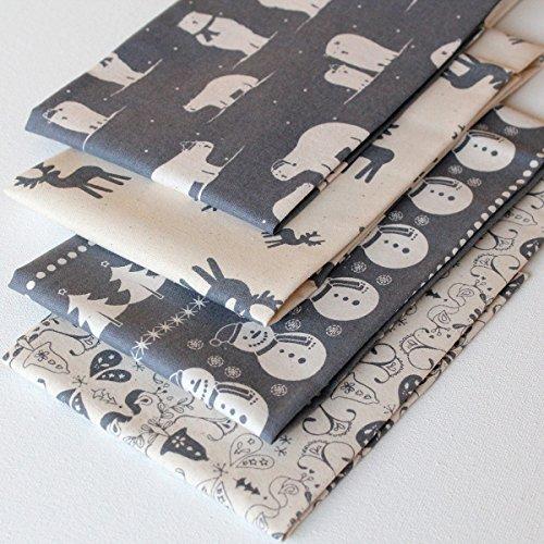 4-fat-quarters-scandi-christmas-grey-natural-unbleached-cotton-vintage-style