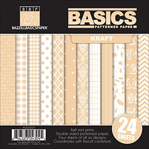 """Basics/Kraft Multi-Pack Paper 6""""X6"""" 24/Sheets-6 Double-Sided Designs/4 Each"""