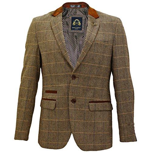 Mens-Marc-Darcy-Vintage-Tweed-Check-Blazer-Jacket-DX7-Tan-38-96cm