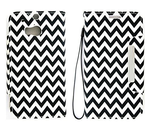Mylife Cruella Deville Black + White Chevron {Contrast Design} Faux Leather (Card, Cash And Id Holder + Magnetic Closing) Slim Wallet For The All-New Htc One M8 Android Smartphone - Aka, 2Nd Gen Htc One (External Textured Synthetic Leather With Magnetic C