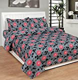 Soni Traders Abstract Floral Print Polycotton Double Bedsheet With 2 Pillow Covers (BST_185)