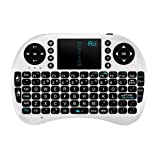 Rii Mini i8 2.4G Wireless Keyboard with Touchpad for PC Pad Google Android TV Box USB (White) (Color: White)