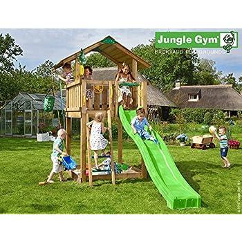 Spielturm Jungle Chalet - Set mit Feuerwehrstange Sandkasten Kletterturm - Jungle Gym (inkl. Holzpaket)