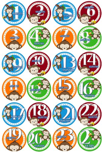 1-24 MONTHS BOY JUNGLE MONKEY Baby Month Onesie Stickers Baby Shower Gift Photo Shower Stickers, baby shower gift by OnesieStickers