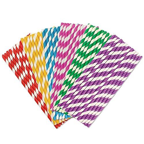 Cannucce di carta a righe colorate, 19,7 cm, confezione da 150 pezzi Stripes 3