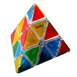 Zcube Stickerless Pyraminx Puzzle Cube, Triangle Rubiks in Transparent Colored (Color: Transparent)
