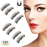 Beatife Natural Fake Magnetic Eyelashes, 3D Three Magnets Ultra Thin Soft, Glamorous, Natural Look, No Glue, Handmade Reusable False Eyelashes Fake Lashes Extension (Black) 2 Pair/8Pcs (Color: Black4, Tamaño: Medium)