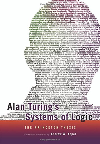 alan turing phd thesis Alan turing's systems of logic: the princeton thesis facsimilie reprint of turning's 1938 princeton phd thesis, systems of logic based on ordinals.