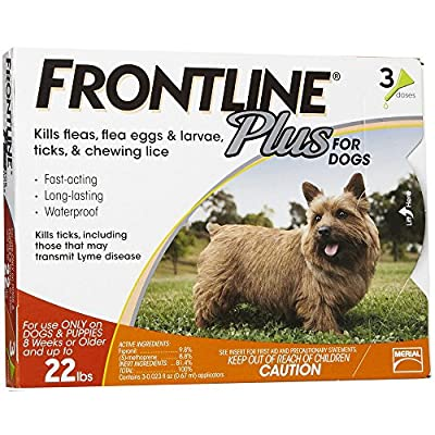 Frontline Plus for Small Dogs up to 22lbs (Orange) 3 Doses