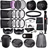 Greens Camera World 62mm 2x Telephoto Lens With Pouch + 62mm Wide Angle Lens + 62mm 3 Piece Filter Set (UV, CPL...