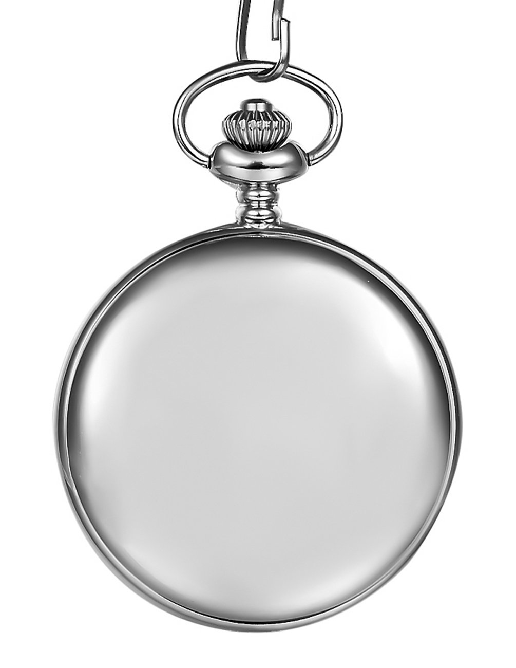 Mudder Classic Smooth Vintage Silver Steel Mens Pocket Watch Xmas Gift 1