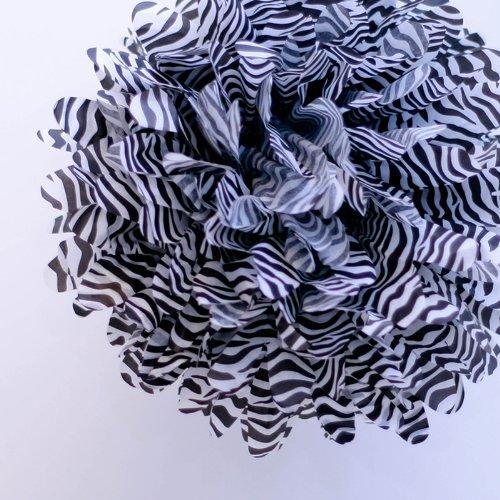 "Dress My Cupcake Mini 5"" Zebra Print Tissue Paper Pom Poms, Set Of 8 - Animal Print Flowers, Zebra Print Paper Decorations, Animal Print Decorating Ideas front-68779"