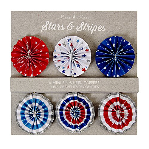 Meri Meri 45-1596 Stars and Stripes Pinwheel Topper Novelty