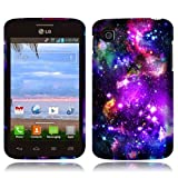 NextKin LG Optimus Dynamic II L39C Hard Plastic Front And Back Protector Snap On Cover Case - Purple Marvel Nebula... by NEXTKIN
