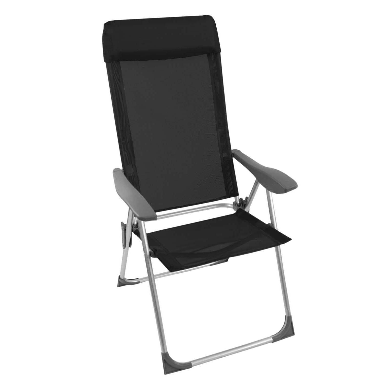 Klappstuhl Schwarz Rückenlehne 4-fach verstellbar Gartenstuhl Stuhl klappbar Campingstuhl Positionsstuhl Gartenmöbel Campingmöbel Hochlehner