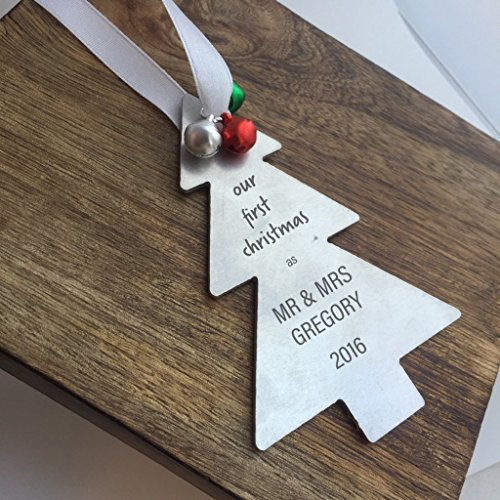 Our First Christmas Ornament Tree Shaped Christmas Tree Decoration Personalized Names and Date Christmas Gift Newlywed Gift Our 1st Christmas As Mr and Mrs