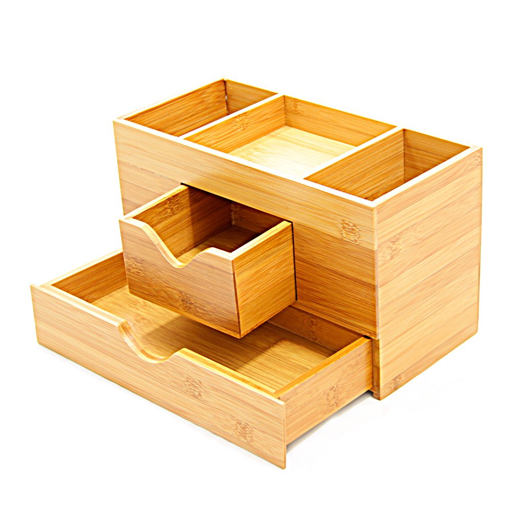 Natural Bamboo Desk Tidy Stationery Box Desktop Organiser With Drawers Ebay